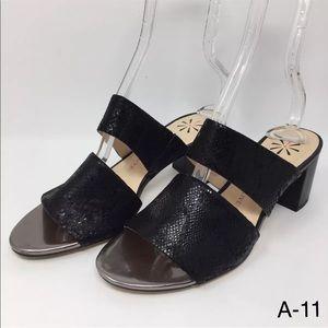 Isaac Mizrahi Leather Double Strap Slide Sandals